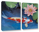 Koi And Water Lily, 2 Piece Gallery-Wrapped Canvas Set Gallery Wrapped Canvas Set by Michael Creese