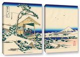 Tea House At Koishikawa. The Morning After A Snowfall., 2 Piece Gallery-Wrapped Canvas Set Print by Katsushika Hokusai