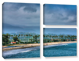 The Beach At Santa Barbara, 3 Piece Gallery-Wrapped Canvas Flag Set Prints by Steve Ainsworth