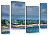 The Beach At Santa Barbara, 4 Piece Gallery-Wrapped Canvas Staggered Set Poster by Steve Ainsworth