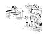 A group holding a flag that says Machiavelli School spies on a Montessori ... - New Yorker Cartoon Premium Giclee Print by Trevor Spaulding