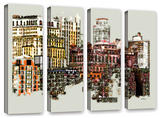 Nyc Manhattan Cluster, 4 Piece Gallery-Wrapped Canvas Set Posters by Linda Parker