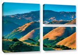Golden Hills, 3 Piece Gallery-Wrapped Canvas Flag Set Gallery Wrapped Canvas Set by Steve Ainsworth