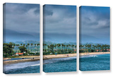 The Beach At Santa Barbara, 3 Piece Gallery-Wrapped Canvas Set Posters by Steve Ainsworth