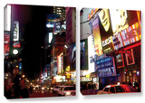 Nyc Bright Lights Broadway, 2 Piece Gallery-Wrapped Canvas Set Prints by Linda Parker