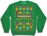 Crewneck Sweatshirt: TMNT- Pizza Ugly Xmas Sweater Camiseta