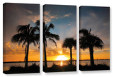 Tropical Sunset, 3 Piece Gallery-Wrapped Canvas Set Prints by Steve Ainsworth