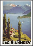 Lac Dannecy Mounted Print by Roger Broders