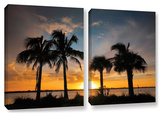 Tropical Sunset, 2 Piece Gallery-Wrapped Canvas Set Gallery Wrapped Canvas Set by Steve Ainsworth
