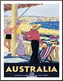 Australia Beach c.1929 Mounted Print by Percy Trompf