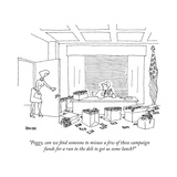 """Peggy, can we find someone to misuse a few of these campaign funds for a ..."" - New Yorker Cartoon Premium Giclee Print by Jack Ziegler"