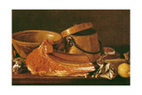 Still Life with Meat, Cooking Pots, Chickpeas, a Lemon and Garlic Giclee Print by Luis Egidio Melendez