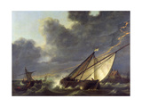 Boats in the Estuary of Holland Diep in a Storm Giclee Print by Aelbert Cuyp