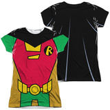 Juniors: Teen Titans Go- Robin Uniform (Front/Back Print) Shirt