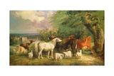 Haddon Hall with Sheep, Cattle, a Stag and a Pony Giclee Print by Henry Barraud