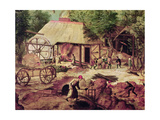 Landscape with Forge, Detail of the Foundry Giclee Print by Herri Met De Bles