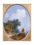 A Shepherd Playing the Flute Whilst a Peasant Girl Listens, 1765 Impression giclée par Jean-Honore Fragonard
