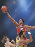 Dr. J Going to the Rim Giclee Print by Darryl Vlasak
