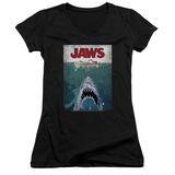 Juniors: Jaws- Lined Poster V-Neck Womens V-Necks
