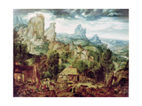 Landscape with Forge Giclee Print by Herri Met De Bles
