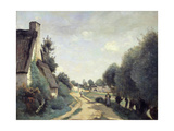 A Road Near Arras, or Cottages, C.1842 Giclee Print by Jean Baptiste Camille Corot