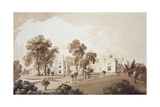 View of the Farm House with Screen to Stables and Farm Buildings to Sezincote House Giclee Print by John Martin