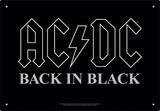 AC/DC - Back In Black Cartel de chapa
