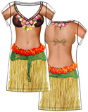 Hula Girl Dress Faux Real Costume Tee (Front/Back) Skjorter