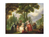 A Meeting in the Park Giclee Print by Francois Louis Joseph Watteau
