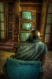 Male Figure in Abandoned Building with Televisions Photographic Print by Nathan Wright