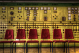 Red Chairs in Old Control Room Photographic Print by Nathan Wright