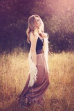 Young Woman Outdoors Wearing a Shawl Photographic Print by Sabine Rosch