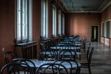 Empty Tables in Long Room Photographic Print by Nathan Wright