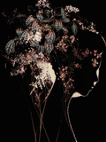 Young Womans Face in Silhouette Profile with Floral Montage Photographic Print by Leslie O'Dell Ann