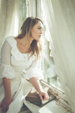 Young Woman Wearing White Dress Photographic Print by Sabine Rosch