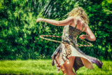 Female Youth Spinning Hoop Photographic Print by Stephen Arens