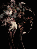 Young Womans Face in Silhouette Profile with Floral Montage Metal Print by Leslie O'Dell Ann