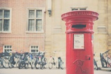 Bikes and Red Letter Box in Cambridge Photographic Print by Laura Evans