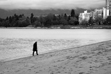 Figure Walking Alone Along Beach in Winter Photographic Print by Sharon Wish