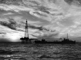 Sunset View of Humble Oil Co. Drilling Operations on Derrick Off Coast of Louisiana Metal Print