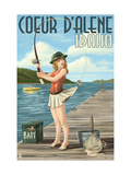Coeur D'Alene, Idaho - Fishing Pinup Girl Metal Print by  Lantern Press