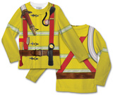 Toddler Long Sleeve:  Fireman Costume Tee (Front/Back) T-Shirt