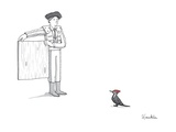 A matador provokes a red-headed woodpecker.  - New Yorker Cartoon Premium Giclee Print by Charlie Hankin