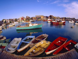 Town Buildings and Colorful Boats in Bay, Rockport, Maine, USA Metal Print by Jim Zuckerman