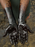 A Chapopero, Literally the Tar Man, Shows His Oil-Covered Hands Metal Print