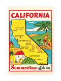 Cartoon Map of California Metal Print