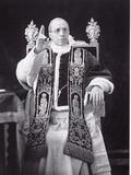 Papal Pius Pope Portrait Serious Throne Undated XII Metalldrucke