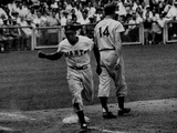 Giants Player, Willie Mays, Running Bases During Game with Dodgers Metal Print