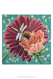 Dragonfly on Blooms II Art by Carolee Vitaletti