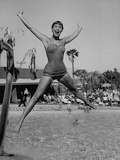 Las Vegas Chorus Girl Kim Smith at the Swimming Pool in the Sands Hotel Metal Print by Loomis Dean